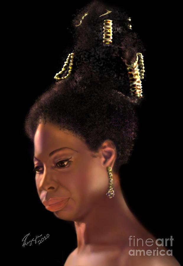 Jazz Painting - Nina Simone by Reggie Duffie