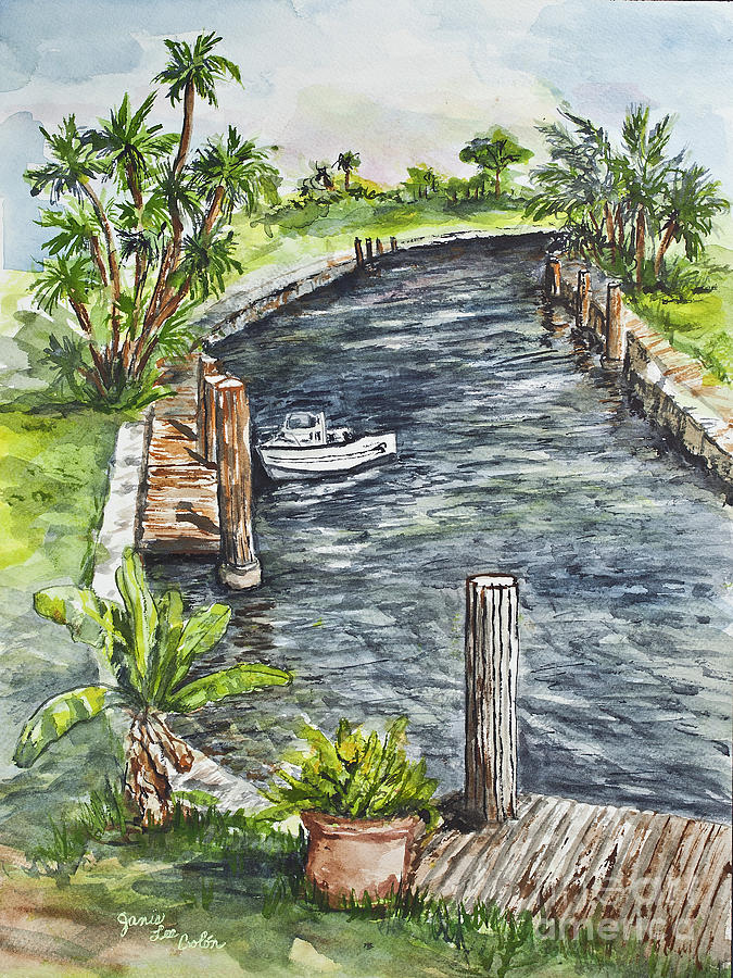 Water Painting - Ninas Back Yard by Janis Lee Colon