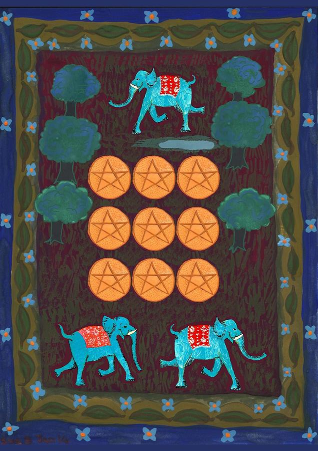 Tarot Painting - Nine Of Pentacles by Sushila Burgess