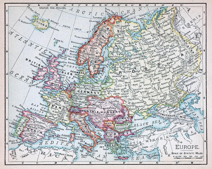 Nineteenth Century Map Of Europe Photograph by Russell Shively
