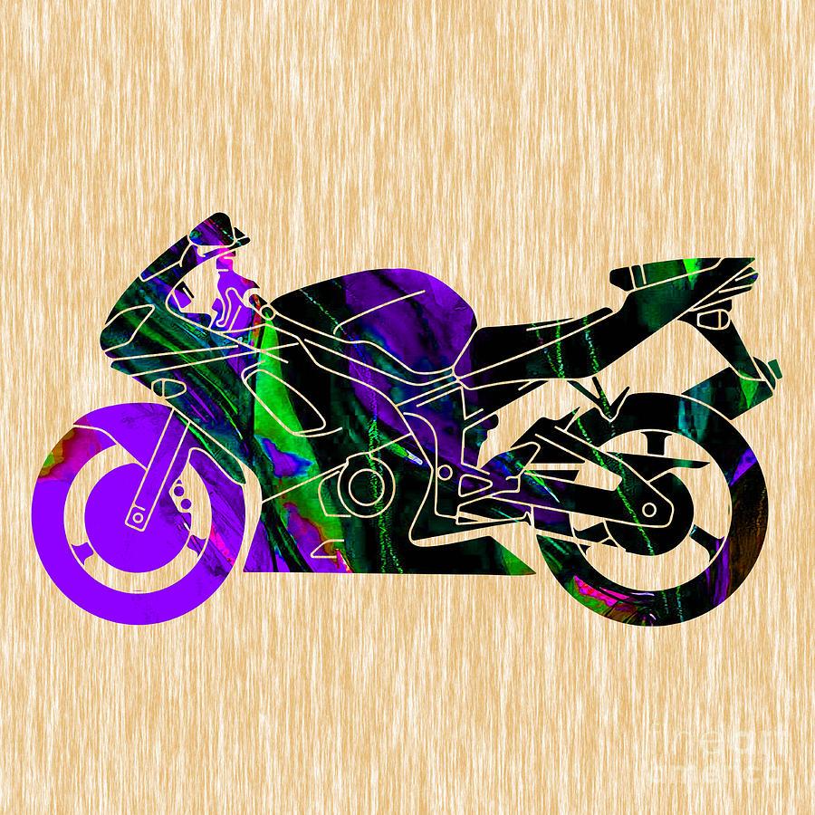 Ninja Bike Art Mixed Media by Marvin Blaine