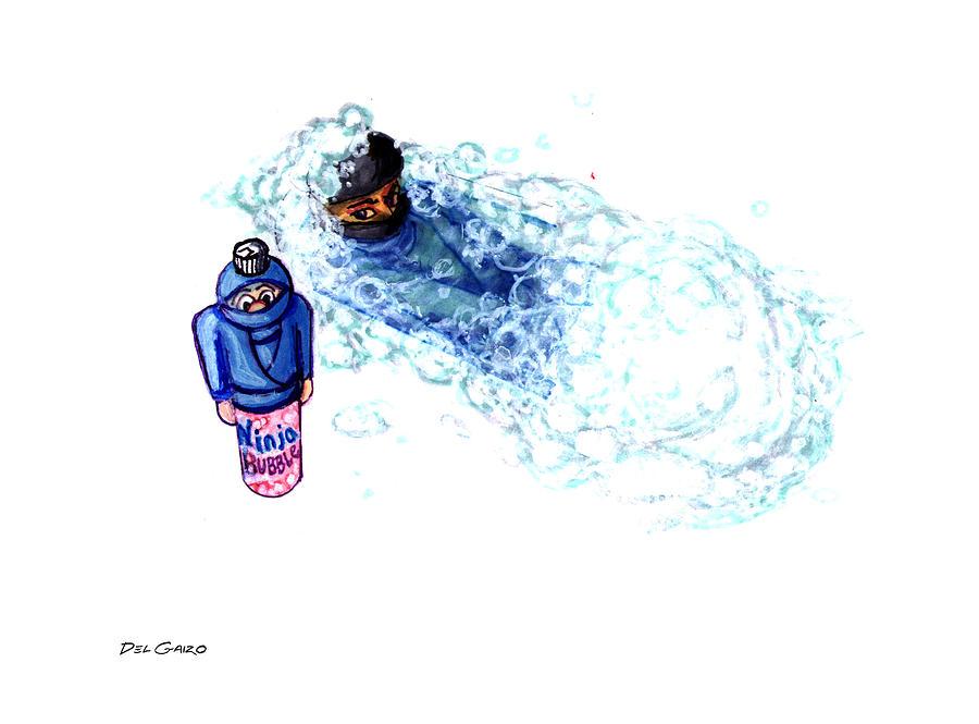 Ninja Drawing - Ninja Stealth Disappears Into Bubble Bath by Del Gaizo