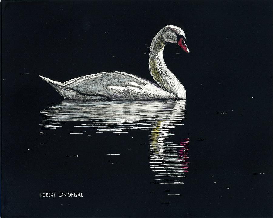 Swan Painting - Ninos Swan by Robert Goudreau