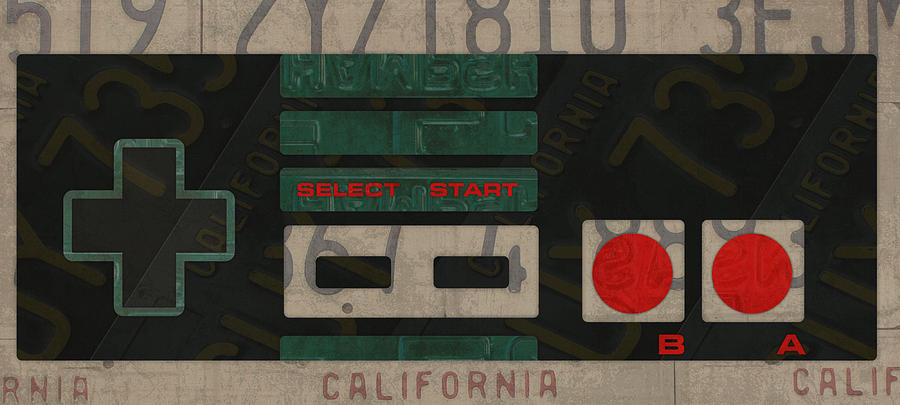 Nintendo Mixed Media - Nintendo Controller Vintage Video Game License Plate Art by Design Turnpike