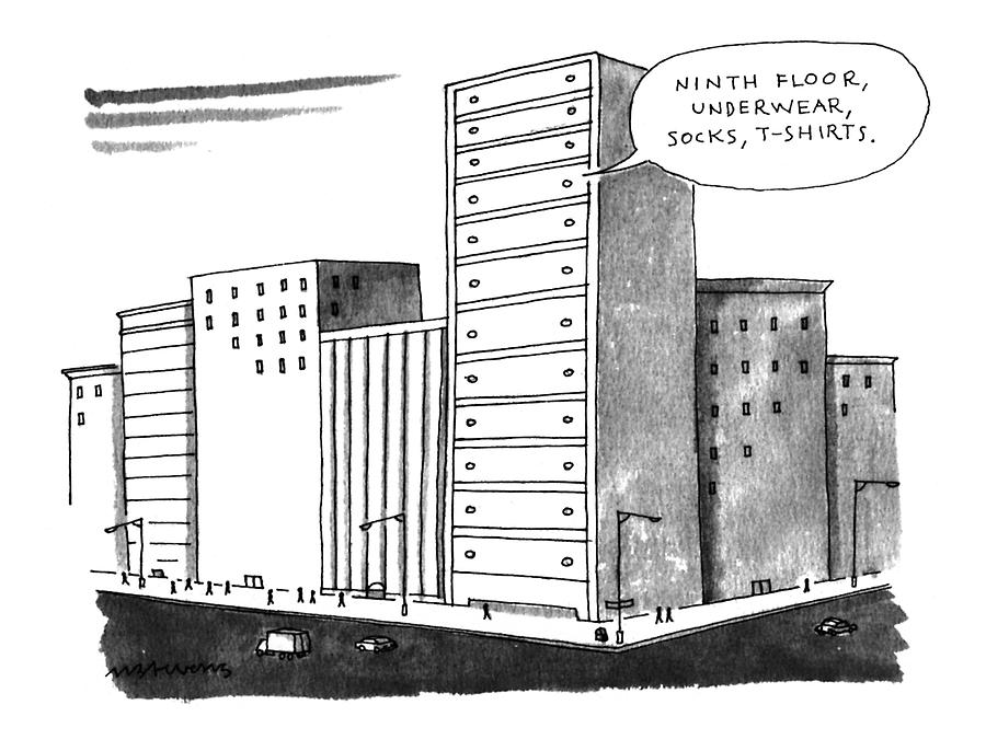 ninth Floor Drawing by Mick Stevens