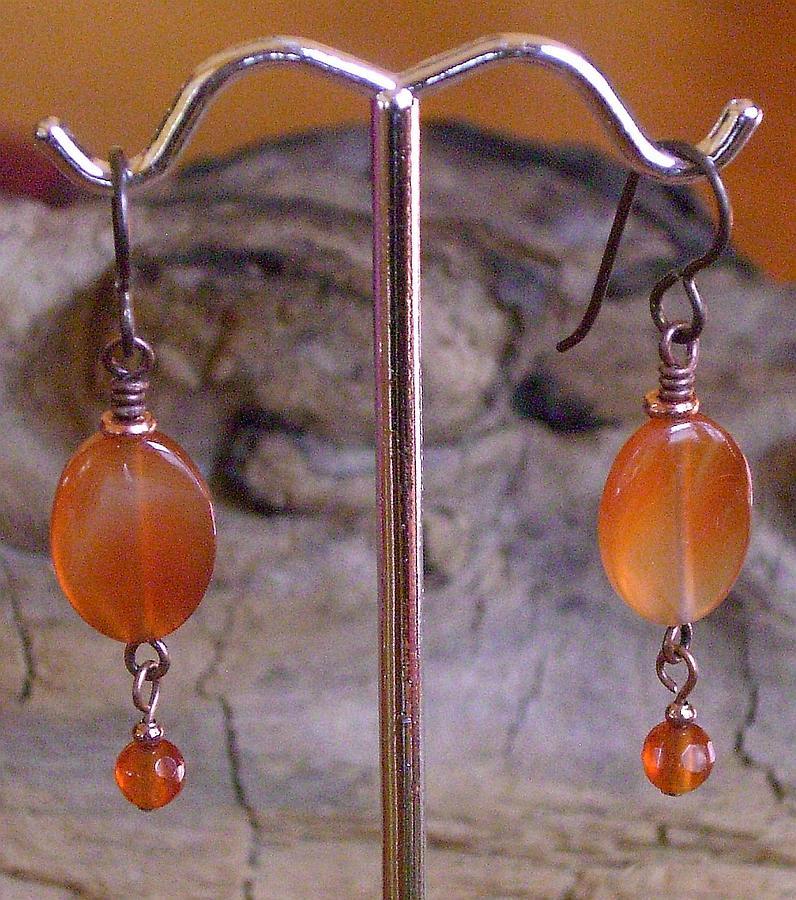 Niobium Jewelry - Niobium Copper And Carnelian Earrings by Ann Mooney