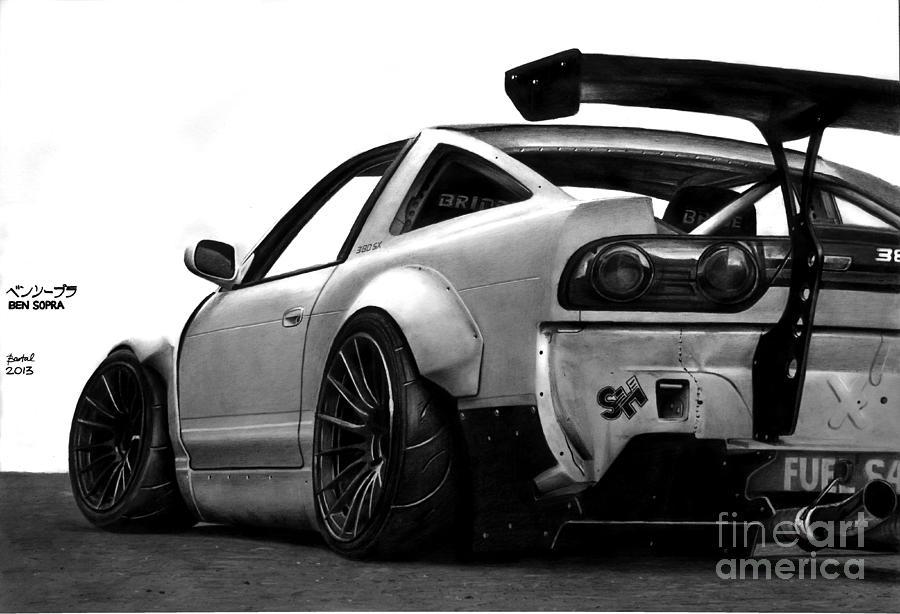 Nissan 380sx Bensopra Drawing by Gabor Bartal