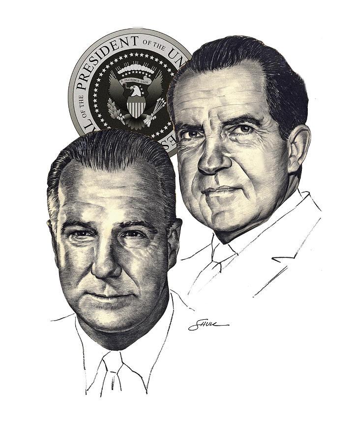 Nixon and Agnew Drawing by Harold Shull