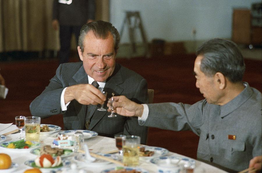 History Photograph - Nixon In China. President Richard Nixon by Everett