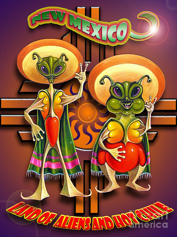 Ufo Painting - New Mexico Land Of Aliens And Hot Chile by Ricardo Chavez-Mendez