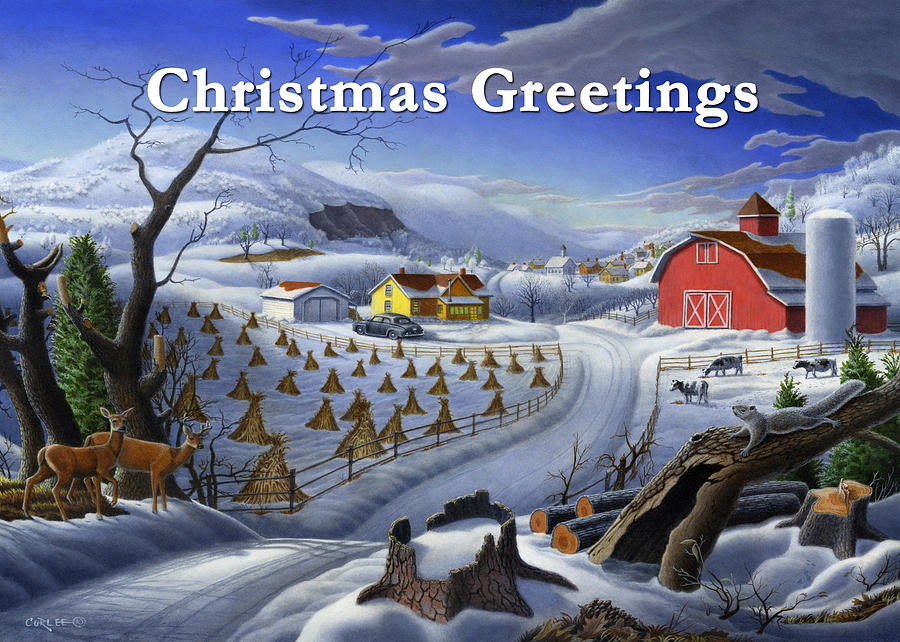 Greeting Painting - no 3 Christmas Greetings 5x7 greeting card  by Walt Curlee