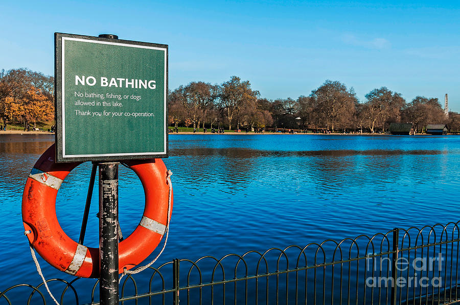 Bathing Photograph - No Bathing Sign by Luis Alvarenga