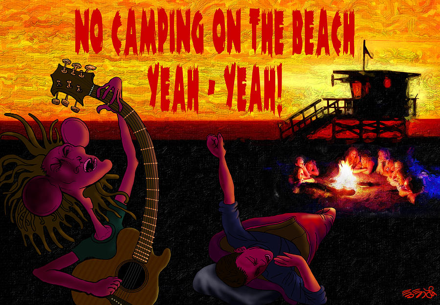 Venice Beach Painting - No Camping On The Beach by Ebenlo - Painter Of Song