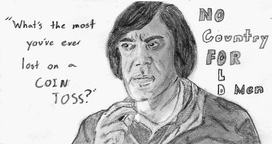 no country for old men drawing by sean cordy javier bardem drawing no country for old men by sean cordy