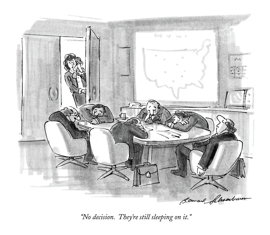 No Decision.  Theyre Still Sleeping On It Drawing by Bernard Schoenbaum