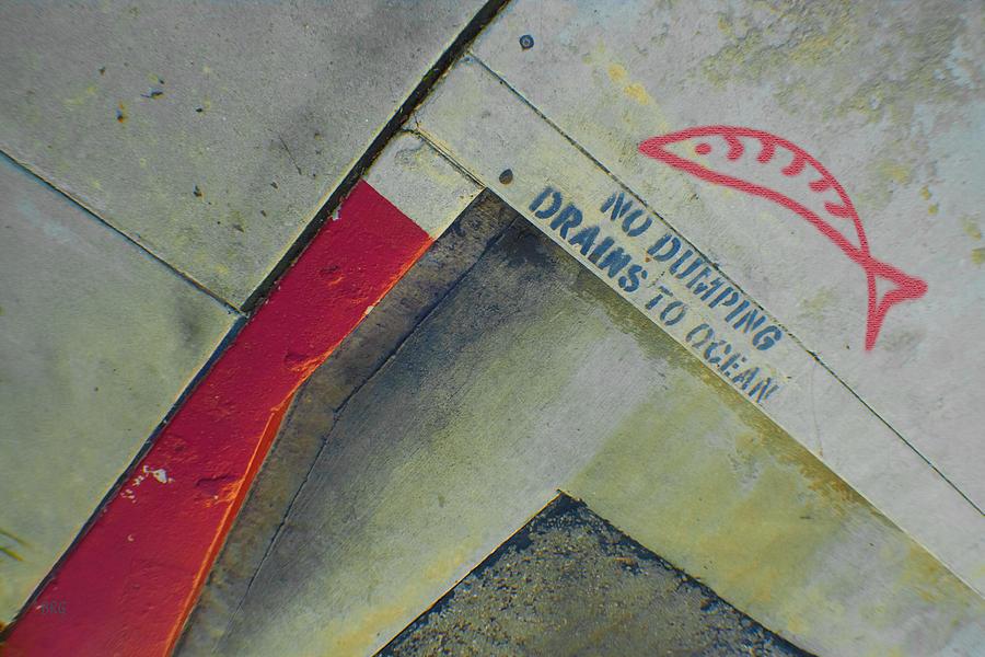 Urban Abstract Photograph - No Dumping - Drains To Ocean No 1 by Ben and Raisa Gertsberg