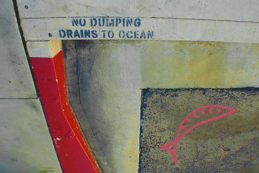 Urban Abstract Photograph - No Dumping - Drains To Ocean No 2 by Ben and Raisa Gertsberg