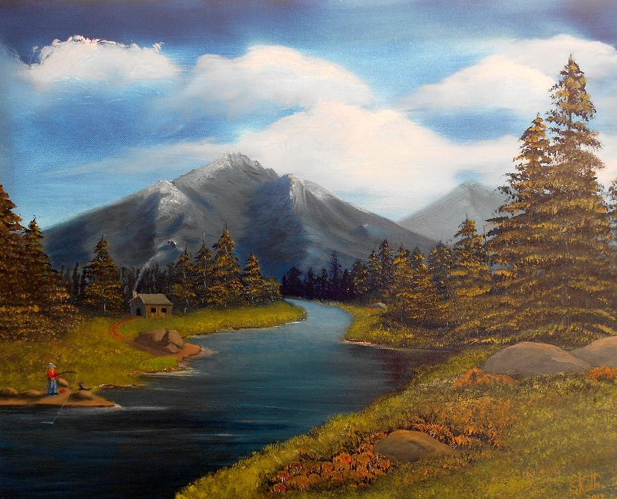 Mountain Painting - No Electronics Here by Sheri Keith
