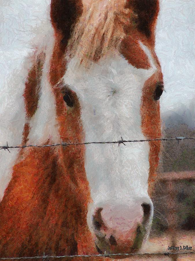 Barbed Wire Painting - No Fences by Jeffrey Kolker