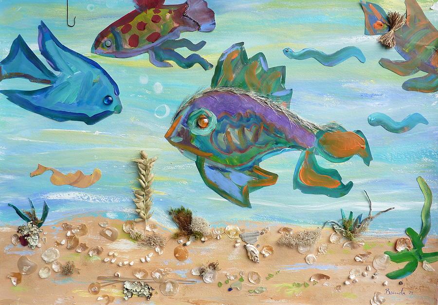 Contemporary Painting - No Fishing by Brenda Ruark