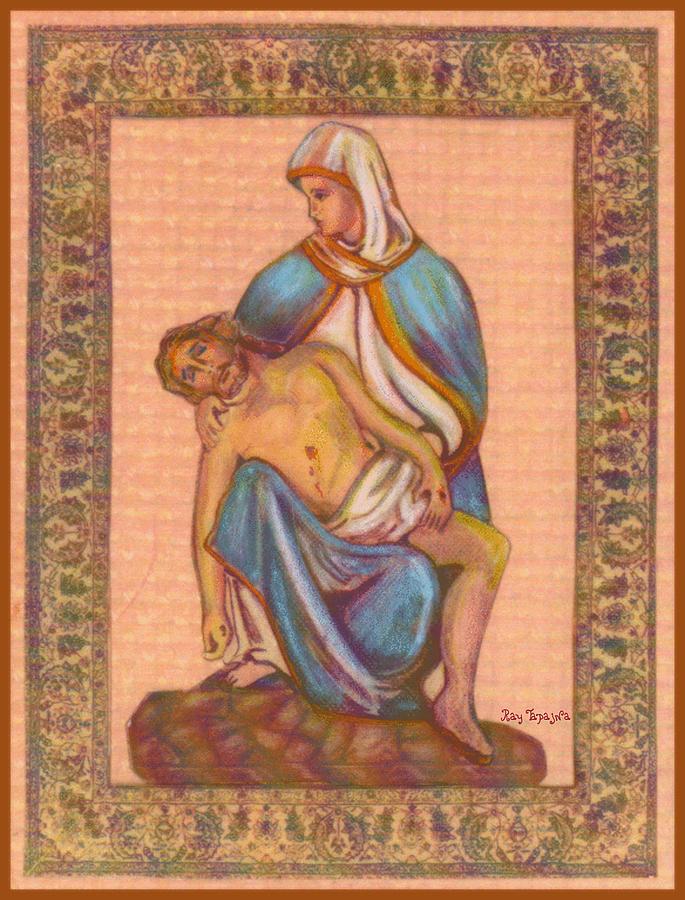 No Greater Love Mixed Media - No Greater Love - Jesus And Mary  by Ray Tapajna