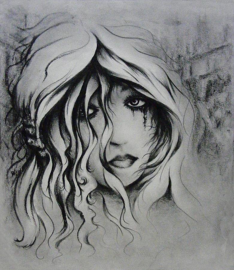 Woman Drawing - No More Tears by Rachel Christine Nowicki