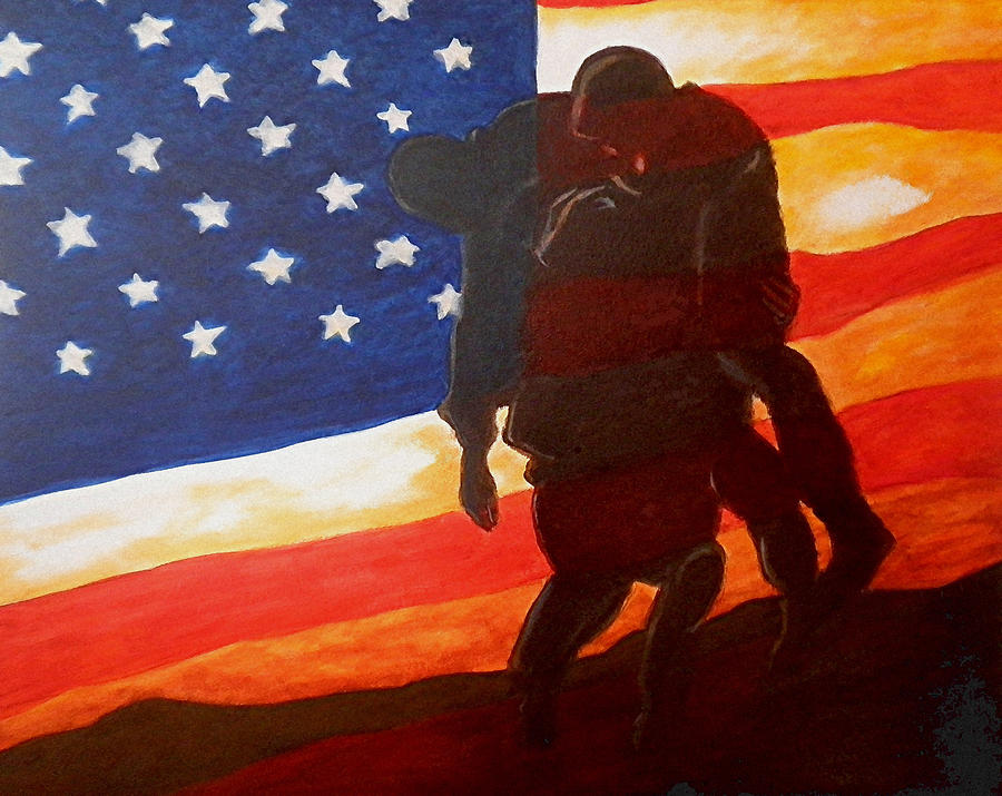 Wounded Warrior Painting - No One Gets Left Behind by Al  Molina