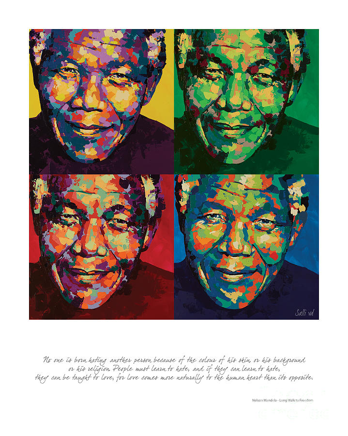Nelson Mandela Painting - No One Is Born by Salli Van Druten
