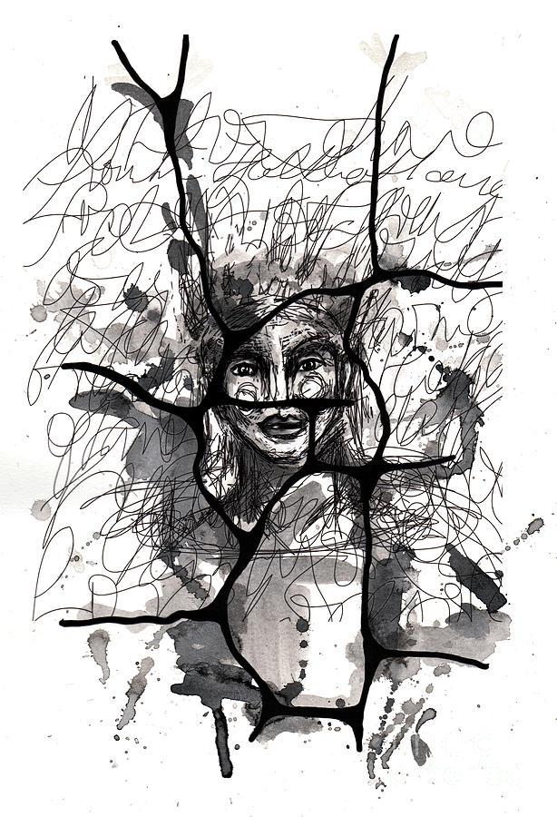 Figurative Painting - No One She Who Peeks Into Becoming  by Milliande Demetriou