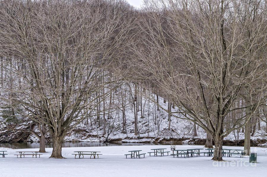 Winter Photograph - Snowy Picnic Ground In Winter by William Kuta