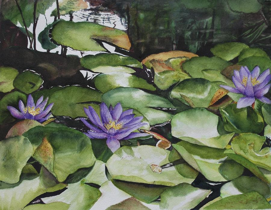Flower Painting - No Room In The Pond by Barbara Littenberg