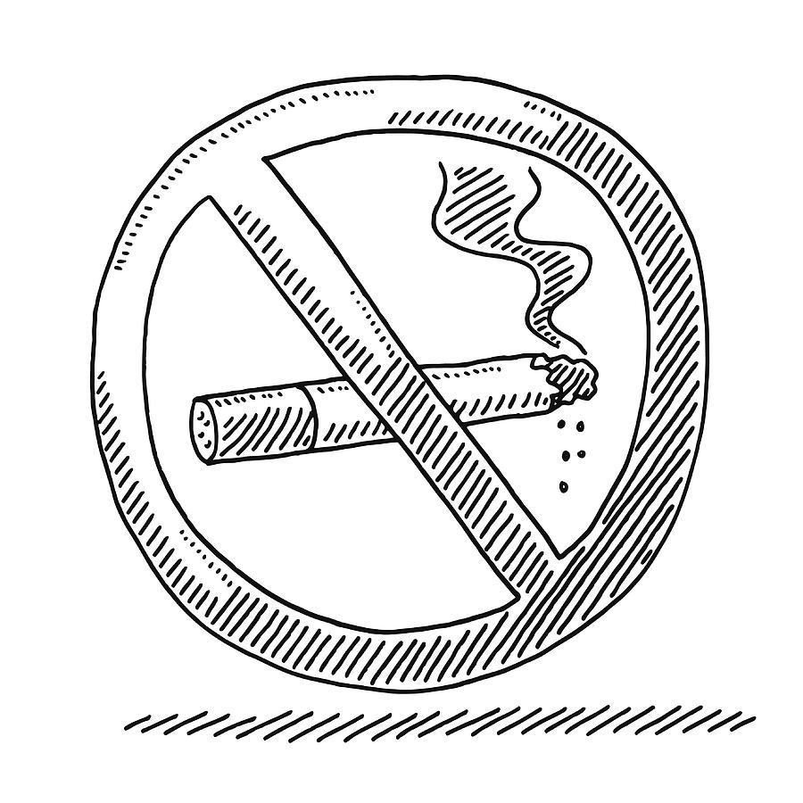 No Smoking Warning Sign Drawing Drawing by FrankRamspott
