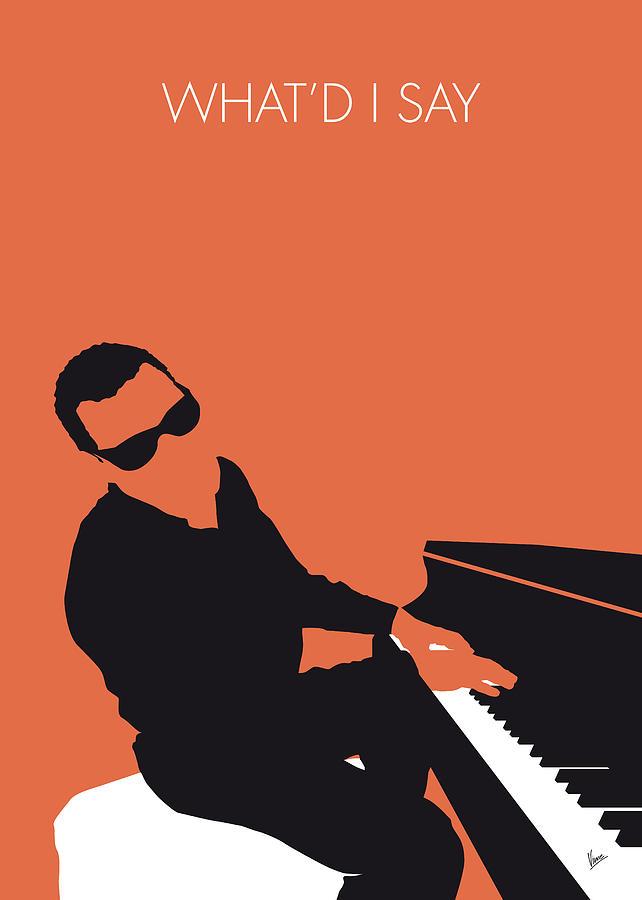 Ray Digital Art - No003 My Ray Charles Minimal Music Poster by Chungkong Art