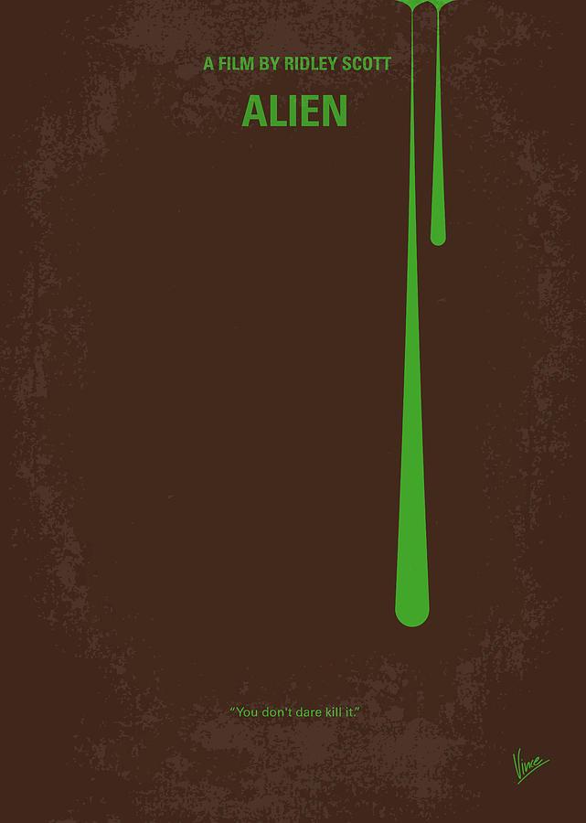 Alien Digital Art - No004 My Alien Minimal Movie Poster by Chungkong Art
