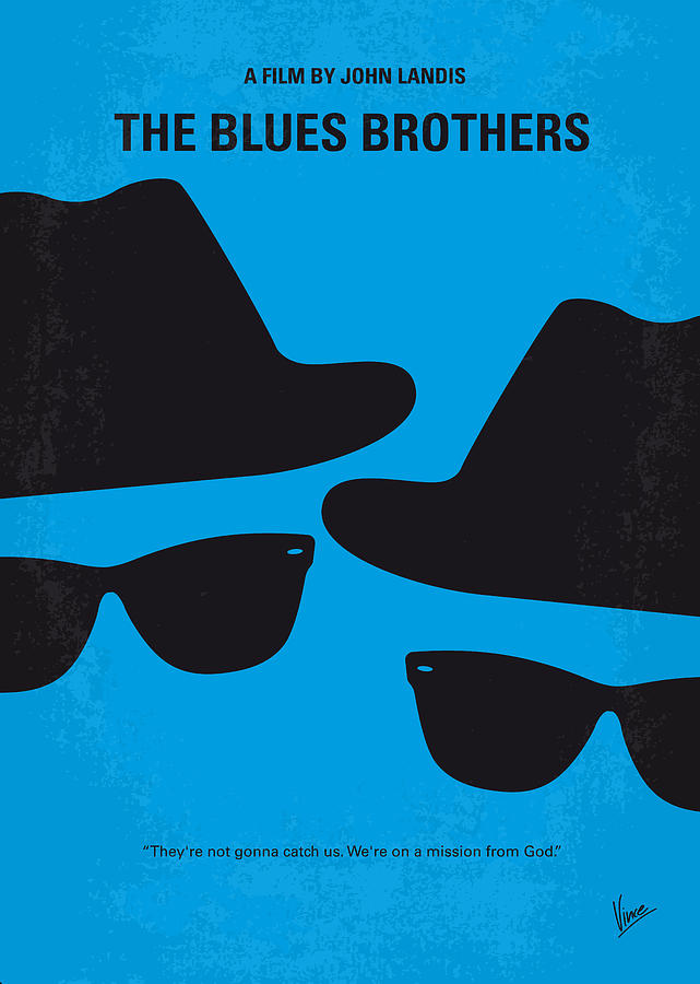 Blues Digital Art - No012 My Blues Brother Minimal Movie Poster by Chungkong Art