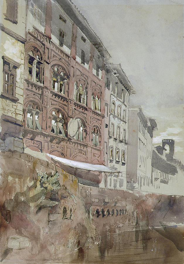 No.1590 Palazzo Agostini, Pisa, 1845 Painting by John Ruskin
