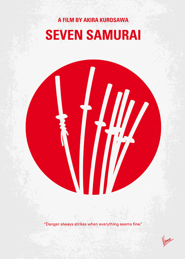 Seven Digital Art - No200 My The Seven Samurai Minimal Movie Poster by Chungkong Art