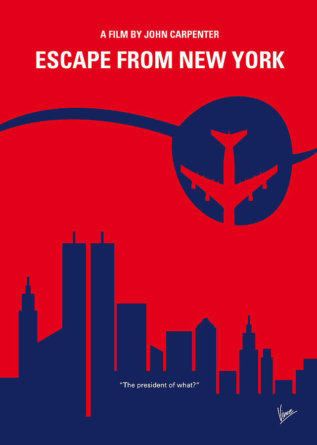 Escape Digital Art - No219 My Escape from New York minimal movie poster by Chungkong Art