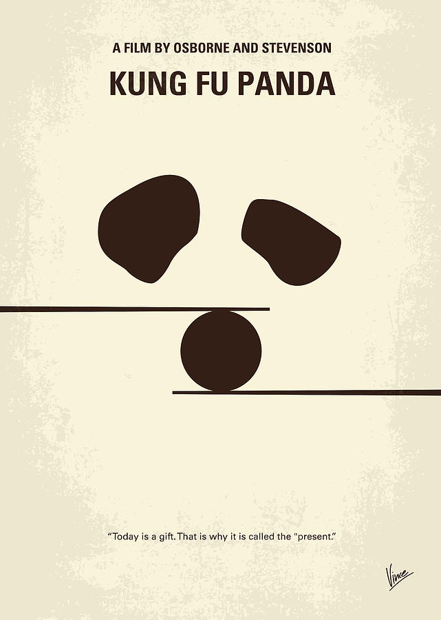 Kung Digital Art - No227 My Kung Fu Panda Minimal Movie Poster by Chungkong Art
