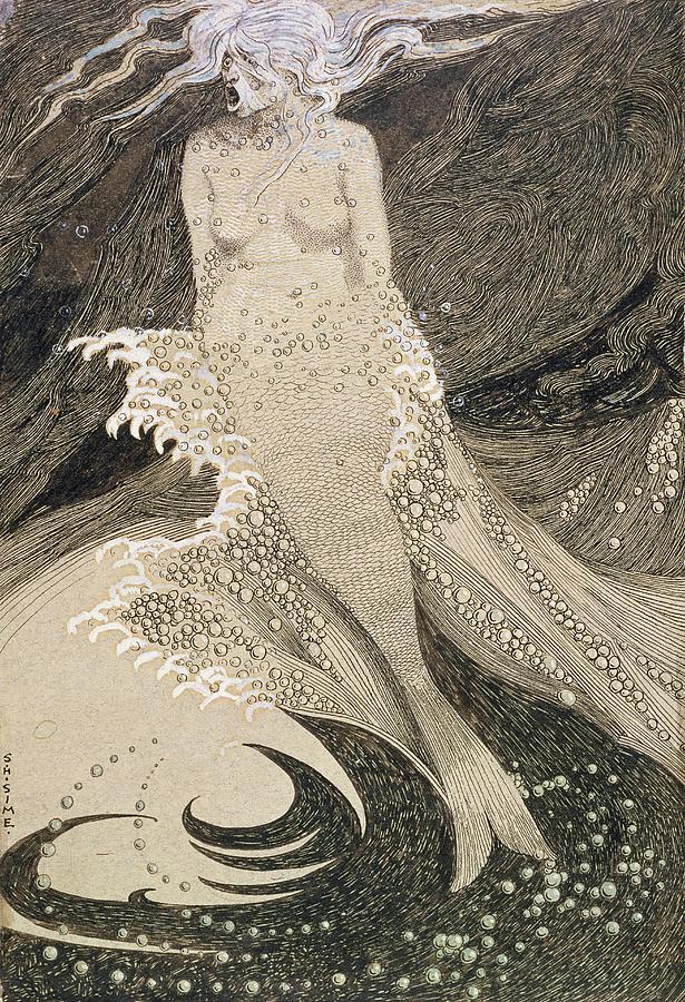Drawing Drawing - The Mermaid by Sidney Herbert Sime