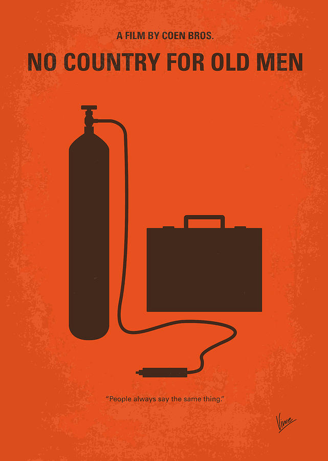 No Digital Art - No253 My No Country For Old Men Minimal Movie Poster by Chungkong Art