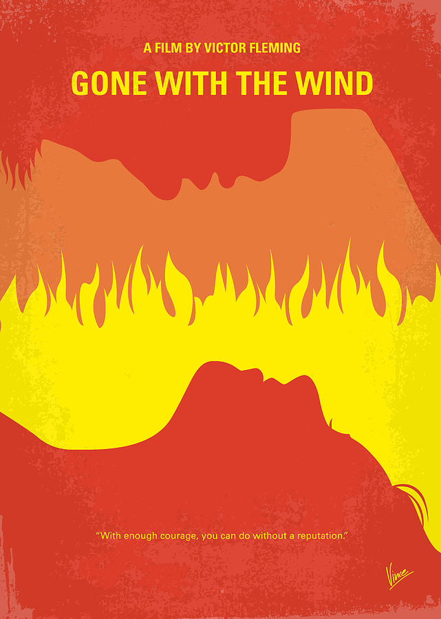 Gone Digital Art - No299 My Gone With The Wind Minimal Movie Poster by Chungkong Art