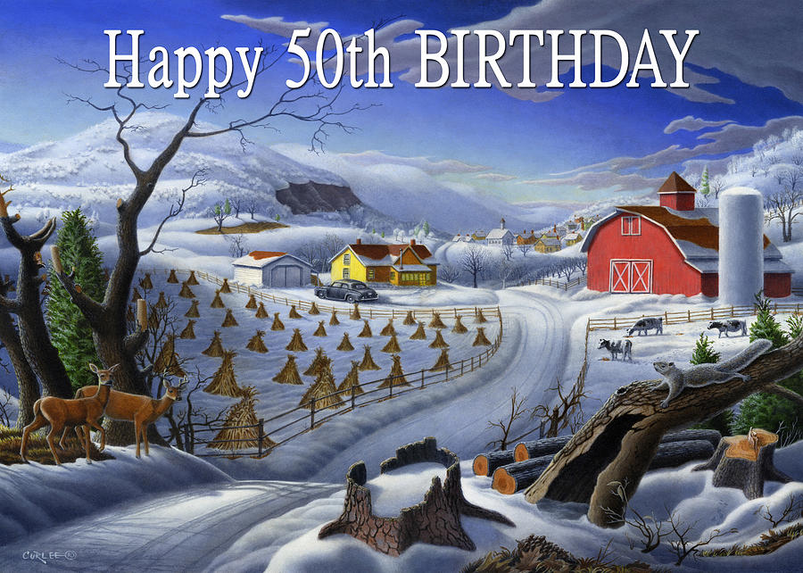Greeting Painting - no3 Happy 50th Birthday  by Walt Curlee