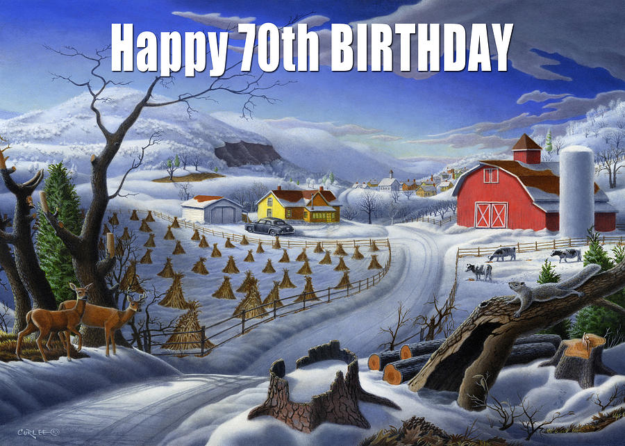 Birthday Painting - no3 Happy 70th Birthday by Walt Curlee