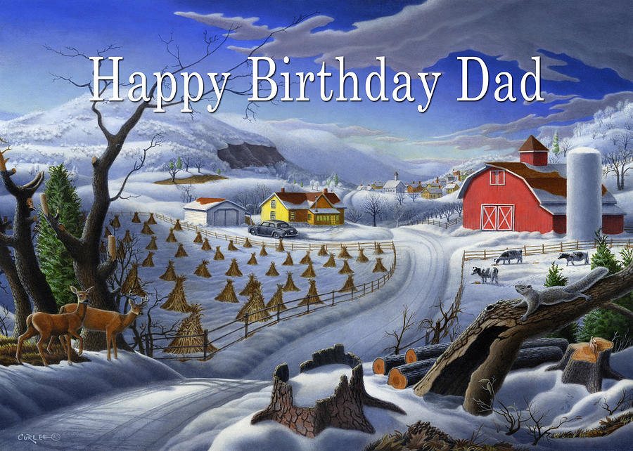 Happy Birthday Dad Painting - no3 Happy Birthday Dad  by Walt Curlee