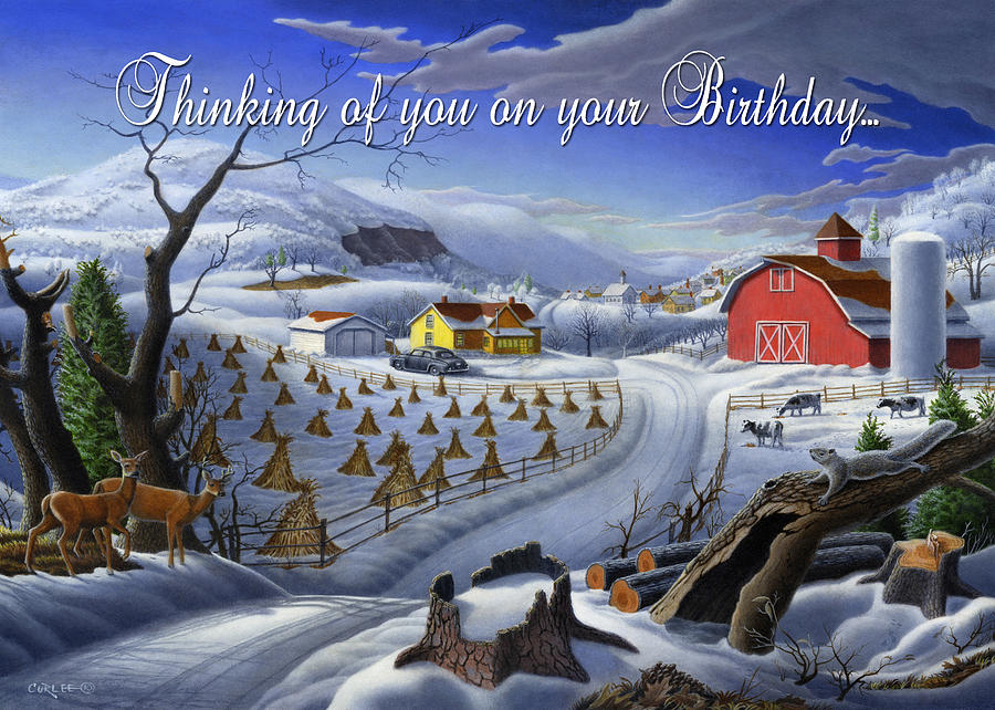 Birthday Painting - no3 Thinking of you on your Birthday  by Walt Curlee