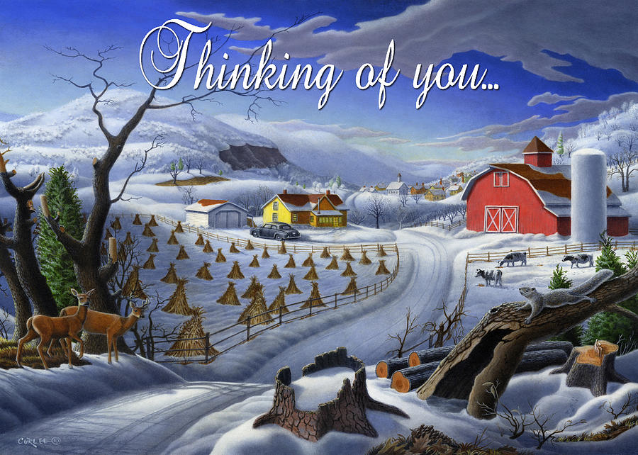 Greeting Painting - no3 Thinking of you  by Walt Curlee