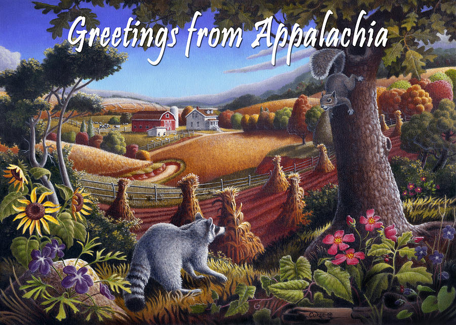 Friends Painting - no6 Greetings from Appalachia by Walt Curlee