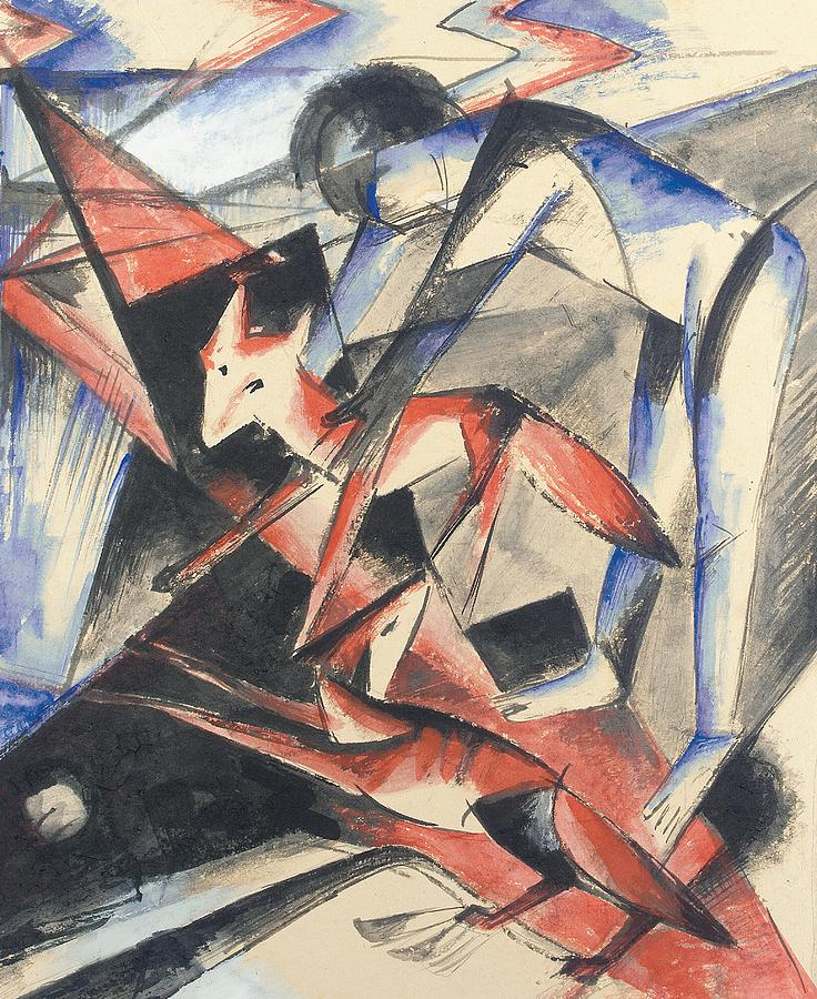 Red Painting - Noah And The Fox by Franz Marc