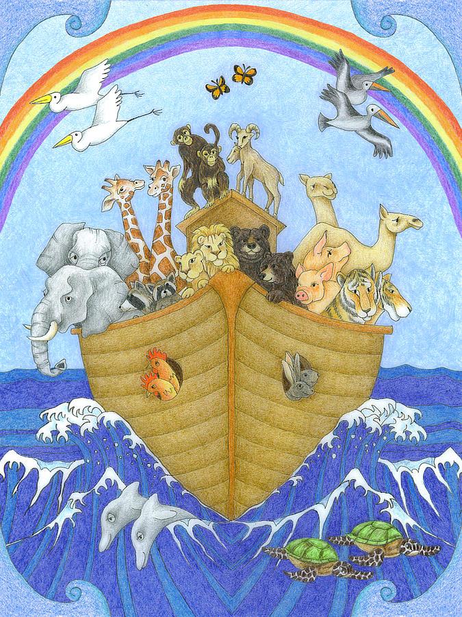 Noah's Ark Drawing - Noahs Ark by Alison Stein